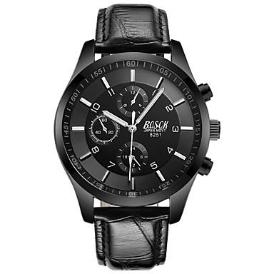 BOSCK رجالي ساعة المعصم كوارتز جلد أسود 30 m مقاوم للماء تصميم جديد قضية مماثل ترف موضة - أبيض أسود أحمر