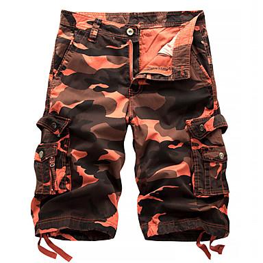 billige Herrers Mode Beklædning-Herre Militær Shorts / Lastbukser Bukser - camouflage Rød / Strand