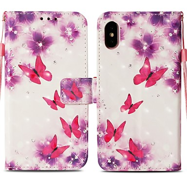 decorativo sintetica iPhone carte Con 8 Integrale credito X Resistente Porta Plus 8 iPhone portafoglio Plus per Custodia 06787766 A supporto di iPhone X Fiore iPhone Per Farfalla pelle Apple OFwU1
