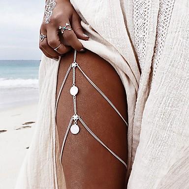 نسائي مجوهرات الجسم 32 cm Fotlenke سلسلة ذهبي / فضي Geometric Shape سيدات / شائع / غلو سبيكة مجوهرات من أجل مناسب للعطلات / نادي الصيف