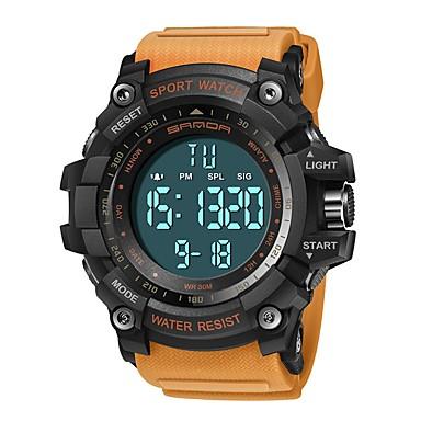 SANDA رجالي ساعة رياضية ساعة رقمية ياباني رقمي سيليكون أسود / أحمر / البرتقال 30 m مقاوم للماء رزنامه ساعة التوقف رقمي ترف موضة - أسود-أحمر كاكي أسود / أبيض / قضية / المرحلة القمر