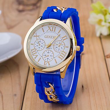 نسائي ساعة المعصم كوارتز سيليكون أسود / الأبيض / أزرق ساعة كاجوال مماثل سيدات موضة - أحمر أزرق فاتح فاتح أخضر