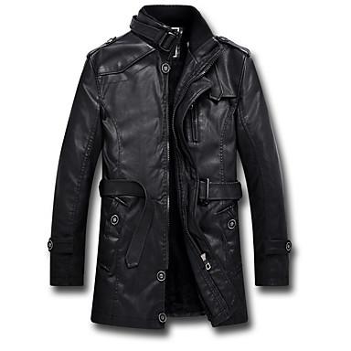 رجالي تمرين / مبتدأ الشتاء / خريف & شتاء طويلة جواكيت جلد, لون سادة مرتفعة كم طويل PU / بوليستر أسود