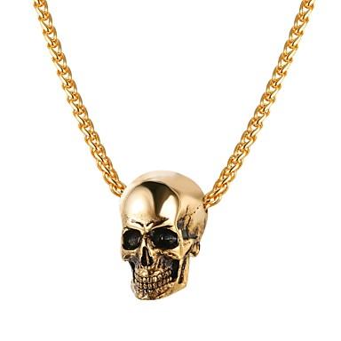 ieftine Coliere-Bărbați Coliere cu Pandativ Funie Foxtail lanț Mexican Sugar Craniu Craniu Modă satanic Teak Auriu Negru Argintiu 55 cm Coliere Bijuterii 1 buc Pentru Cadou Stradă
