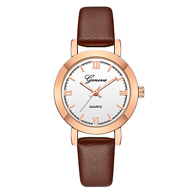 Geneva Women's Wrist Watch Quartz New Design Casual Watch Cool Leather Band Analog Casual Fashion Black / Brown - Brown black Rose Gold / White Black / Rose Gold One Year Battery Life