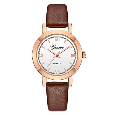 c6bf540536cd6 Geneva نسائي ساعة المعصم ساعة ذهبية كوارتز جلد أسود   بني تصميم جديد ساعة  كاجوال كوول