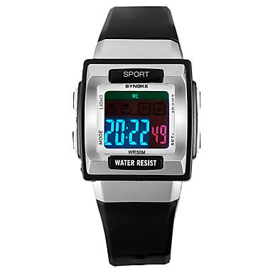 68d413300 SYNOKE رجالي نسائي ساعة رياضية ساعة رقمية رقمي جلد اصطناعي أسود / الأبيض /  الوردي 50