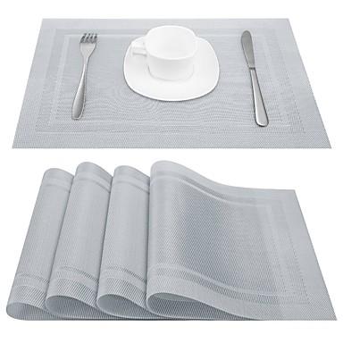 كلاسيكي PVC مربع المفارش طبع الجدول ديكورات 4 pcs