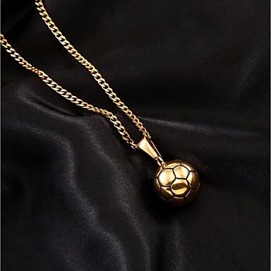 رجالي قلائد الحلي قلادات السلسلة الارتباط الكوبي كرة كرة أوروبي شائع هيب هوب ستانلس ستيل ذهبي 60 cm قلادة مجوهرات 1PC من أجل هدية مناسب للخارج