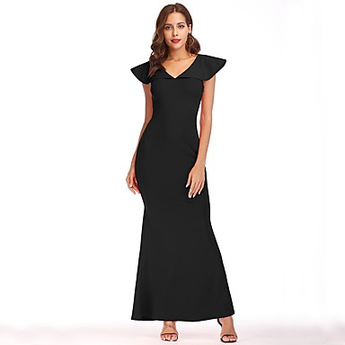 cheap Prom Dresses-Women's Party Vintage Sophisticated Elegant Maxi Slim Sheath Dress - Solid Colored V Neck Summer Blue Black Red L XL XXL