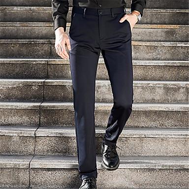 cd4db9a24 رجالي أساسي مناسب للبس اليومي بدلة بنطلون - لون سادة أزرق أسود 28 34 ...