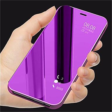 غطاء من أجل Samsung Galaxy J8 / J7 Duo / J6 مع حامل / تصفيح / مرآة غطاء كامل للجسم لون سادة قاسي جلد PU