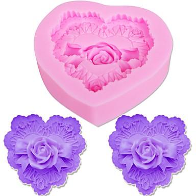3d الحب القلب الشوكولاته العفن الكوكيز صنع روز زهرة سيليكون قالب الكعكة تزيين