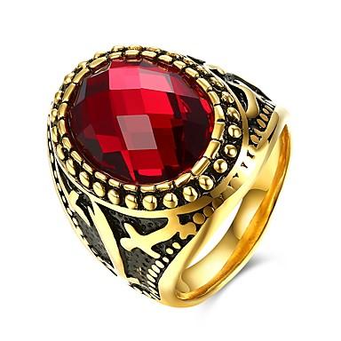povoljno Prstenje-Muškarci Prsten 1pc Crn / Crvena Titanium Steel Ovalnog Moda / Vojni Vjenčanje / Party / Dnevno Nakit odjeće