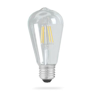 1шт 4 W 320 lm E26 / E27 LED лампы накаливания ST64 4 Светодиодные бусины COB Декоративная Тёплый белый 220-240 V / 110-120 V / 1 шт. / RoHs