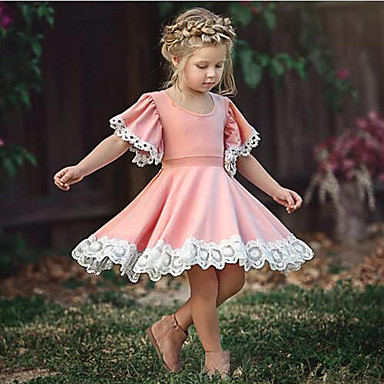 cheap Baby Girls' Dresses-Baby Girls' Chinoiserie Daily / School Solid Colored Lace Short Sleeve Knee-length Cotton Dress Blushing Pink / Toddler