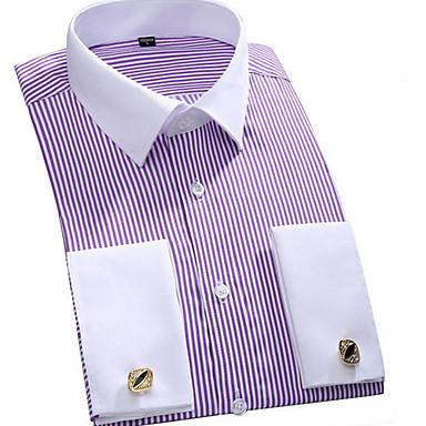 economico Abbigliamento uomo-Camicia Per uomo Ufficio Lavoro / Essenziale A strisce Colletto classico Viola XXXXL / Manica lunga