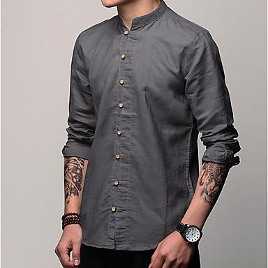 baratos Roupa de Homem Moderna-Homens Camisa Social Sólido Algodão / Linho Cinzento Escuro L / Manga Curta