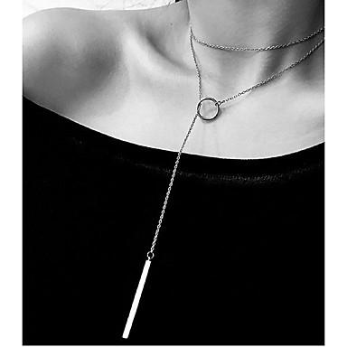 billige Mode Halskæde-Dame Lasso Trace Flydende Y Halskæde Charm halskæde Kreativ Damer Stilfuld Geometrisk Elegant Sølv 70 cm Halskæder Smykker 1pc Til Stævnemøde Arbejde
