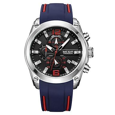 MEGIR رجالي ساعة رياضية ياباني كوارتز سيليكون أسود / مسبح 30 m مقاوم للماء رزنامه الكرونوغراف مماثل موضة - أسود أزرق / قضية
