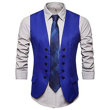 رجالي أزرق أسود أزرق البحرية L XL XXL Vest أناقة الشارع / بانغك & قوطي لون سادة V رقبة نحيل نادي / بدون كم