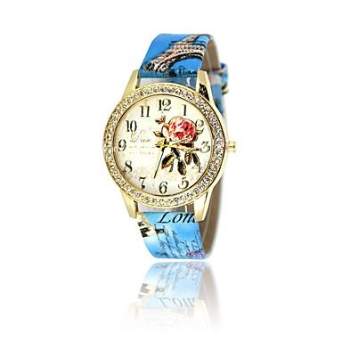 نسائي ساعة المعصم الماس ووتش كوارتز جلد الأبيض / أحمر / بني ساعة كاجوال مماثل سيدات كاجوال موضة - أحمر زهري أزرق فاتح