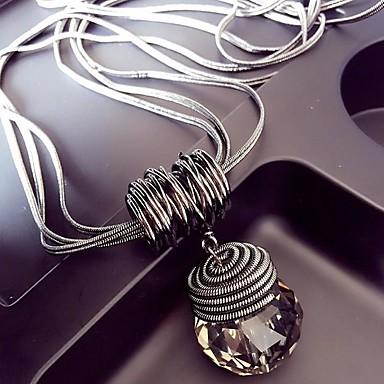 Χαμηλού Κόστους Κολιέ με κρύσταλλα-Γυναικεία Κρυστάλλινο Κρεμαστά Κολιέ μακρύ κολιέ Σύνδεσμος / Αλυσίδα Wire Wrap κυρίες Ευρωπαϊκό Υπερβολή Κράμα Ασημί 60 cm Κολιέ Κοσμήματα 1pc Για Κλαμπ Μπαρ
