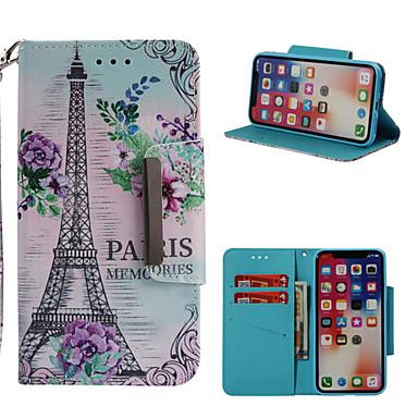 voordelige iPhone 7 hoesjes-hoesje Voor Apple iPhone X / iPhone 8 Plus / iPhone 8 Portemonnee / Kaarthouder / met standaard Volledig hoesje Eiffeltoren Hard PU-nahka
