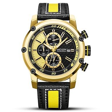 MEGIR رجالي ساعة رياضية ياباني كوارتز جلد طبيعي أسود 30 m مقاوم للماء رزنامه تصميم جديد مماثل كاجوال موضة - فضي ذهبي / قضية