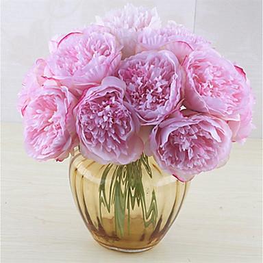 زهور اصطناعية 5 فرع كلاسيكي فردي أنيق النمط الرعوي الفاوانيا أزهار الطاولة