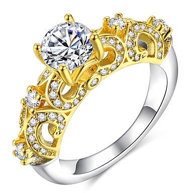نسائي خاتم مايكرو تمهيد الدائري 1PC ذهبي مطلية بالذهب عيار 18 نحاس تقليد الماس سيدات كلاسيكي أنيق زفاف مناسب للحفلات مجوهرات كلاسيكي أشكال النحت متصنع ثمين جميل