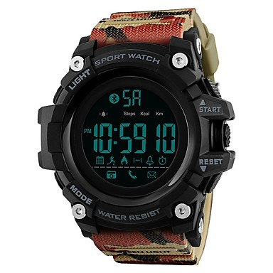 cheap Men's Watches-SKMEI Men's Sport Watch Digital Watch Digital Quilted PU Leather Black / Blue / Red 50 m Water Resistant / Waterproof Bluetooth Calendar / date / day Digital Luxury Casual - Blue Khaki Camouflage