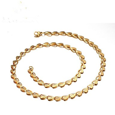 رجالي عقد ستايل خلاق موضة الصلب التيتانيوم ذهبي 60 cm قلادة مجوهرات 1PC من أجل هدية مناسب للبس اليومي