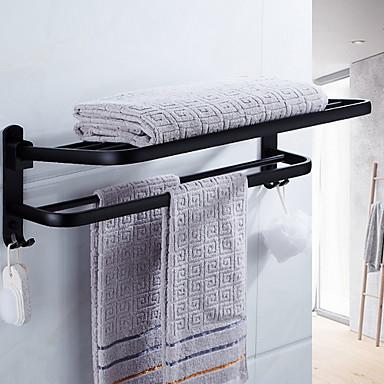 رف الحمام قابل للطي معاصر الالومنيوم 1PC مزدوج مثبت على الحائط