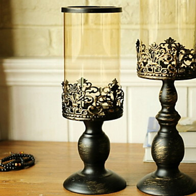 الطراز الأوروبي زجاج / الحديد Candle Holders شمعدان 1PC, شمعة / حامل شمعة