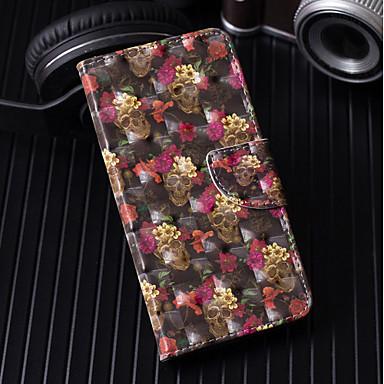 غطاء من أجل Huawei Huawei P20 / Huawei P20 Pro / Huawei P20 lite محفظة / حامل البطاقات / مع حامل غطاء كامل للجسم جماجم / زهور قاسي جلد PU / P10 Lite