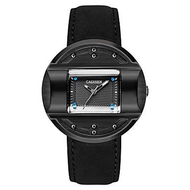CADISEN رجالي ساعة المعصم ياباني كوارتز ياباني جلد طبيعي أسود / أزرق / بني 30 m تصميم جديد قضية كوول مماثل عتيق موضة - أسود كوفي فضي / أزرق سنتان عمر البطارية
