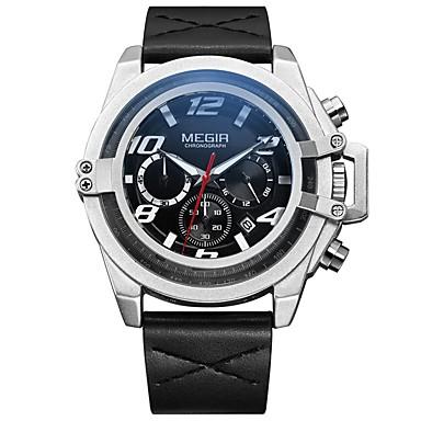 MEGIR رجالي ساعة رياضية ياباني كوارتز جلد طبيعي أسود 30 m مقاوم للماء رزنامه الكرونوغراف مماثل ترف موضة - أسود فضي / قضية