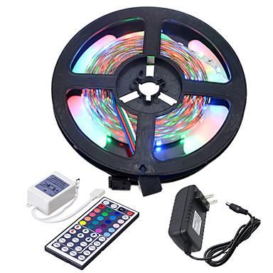 HKV 5m شرائط قابلة للانثناء لأضواء LED / مجموعات ضوء 300 المصابيح 3528 SMD 1 44Keys جهاز تحكم عن بعد / 1 × 2A محول الطاقة RGB قابل للقص / قابلة للربط / اللصق التلقي 100-240 V 1PC
