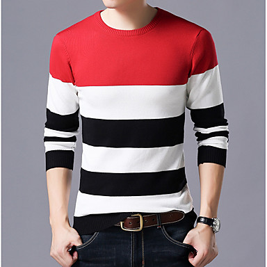 بالغين M / L / XL أحمر / أزرق البحرية / رمادي رقبة دائرية بوليستر, جاكيت صوف عادية نحيل كم طويل ألوان متناوبة مناسب للبس اليومي رجالي