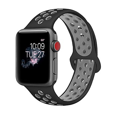 billige Herreure-silica Gel Urrem Strap for Apple Watch Series 4/3/2/1 Sort / Hvid 23cm / 9 tommer 2.1cm / 0.83 Tommer