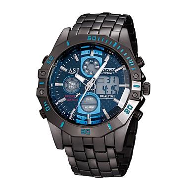 ASJ رجالي ساعة رياضية ساعة رقمية ياباني كوارتز ستانلس ستيل أسود 30 m مقاوم للماء رزنامه الكرونوغراف تناظري-رقمي ترف موضة - أبيض أزرق / قضية