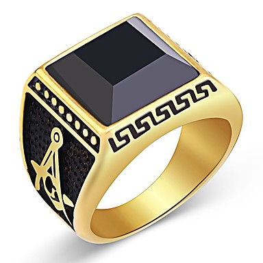 billige Damesmykker-Herre Obsidian Vintage Stil Freemason Ring Signet Ring Rustfritt stål Vintage Motering Smykker Gull Til Daglig 8 / 9 / 10 / 11