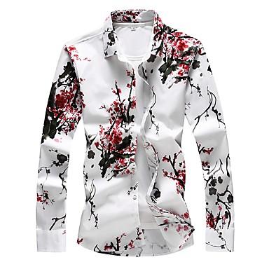 economico Abbigliamento uomo-Camicia - Taglie forti Per uomo Essenziale Con stampe, Fantasia floreale Cotone Rosso XXXXL / Manica lunga / Taglia piccola