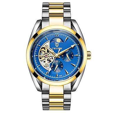 levne Pánské-Tevise Pánské mechanické hodinky japonština Automatické natahování Nerez Stříbro / Zlatá 30 m Voděodolné Kalendář S dutým gravírováním Analogové Luxus Módní - Stříbrná / Modrá Zlato / stříbro / černá