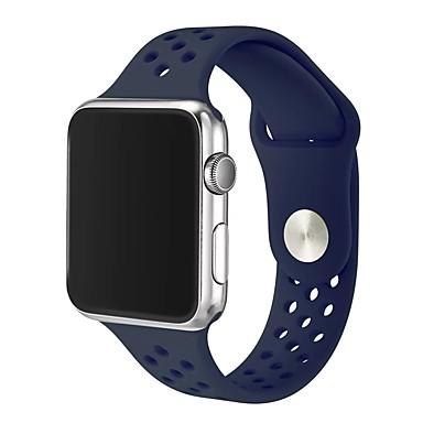 Χαμηλού Κόστους Ανδρικά ρολόγια-Silica Gel Παρακολουθήστε Band Λουρί για Apple Watch Series 4/3/2/1 Μαύρο / Λευκή / Μπλε 23 εκατοστά / 9 ίντσες 2.1cm / 0.83 Ίντσες