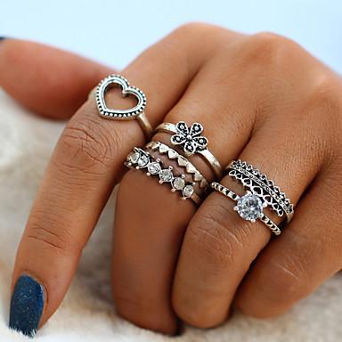 billige Damesmykker-Dame Ring / Ring Set / Midiringe Krystall 6 Sølv Legering Sirkelformet damer / Vintage / Mote Daglig / Gate Kostyme smykker / Hjerte