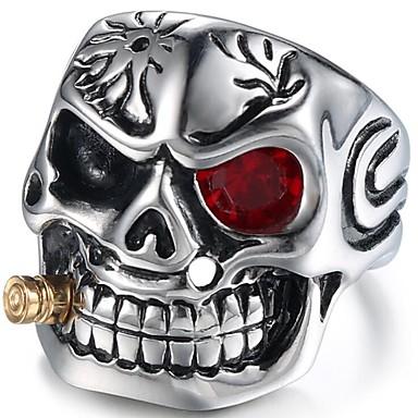 ราคาถูก แหวน-สำหรับผู้ชาย ทับทิม สไตล์วินเทจ น้ำตาลกะโหลกเม็กซิกัน Midi Ring Titanium Steel Skull วินเทจ แหวนแฟชั่น เครื่องประดับ สีเงิน / แดง สำหรับ ทุกวัน วันเกิด 7 / 8 / 9 / 10 / 11