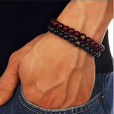 Herrn Glasperlen Perlenarmband Hölzern Buddha Einfach Beiläufig / sportlich Armbänder Schmuck Schwarz / Rot Für Alltag Strasse Ausgehen
