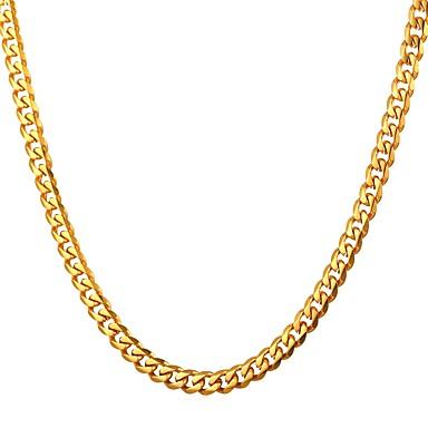 voordelige Heren Ketting-Heren Kettingen Schakelketting Box Chain Mariner Chain Modieus Roestvast staal Goud Zwart Zilver 55 cm Kettingen Sieraden 1pc Voor Lahja Dagelijks